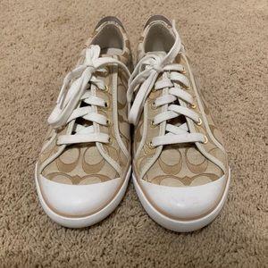 Gold coach barrett sneakers. Size 9. Never worn